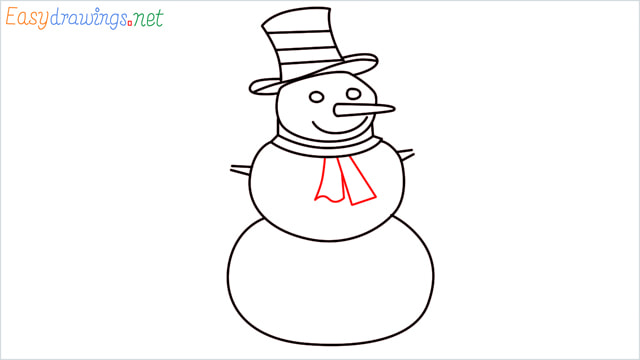 How To Draw A Easy Snowman Step (9)
