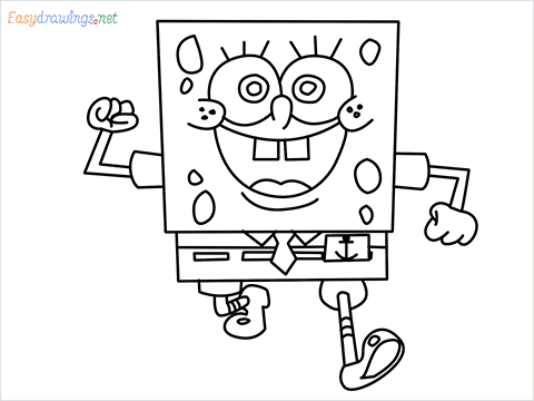 How To Draw Spongebob Squarepants Easy Trick Step by Step for Beginners