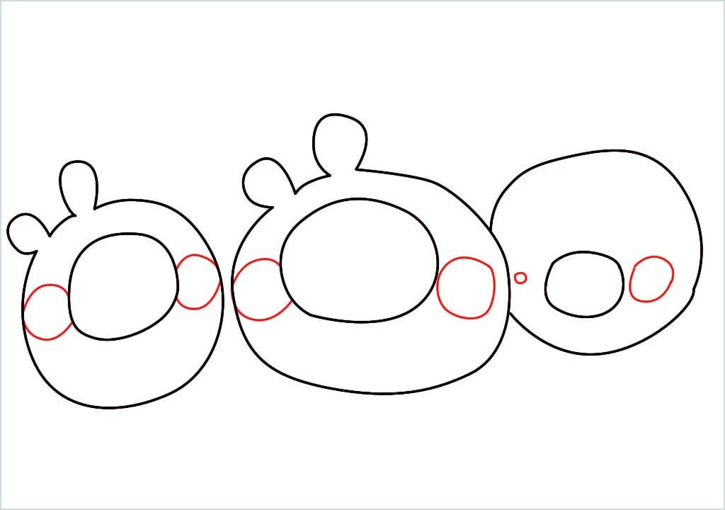 How to Draw a pig of angry bird step (4)