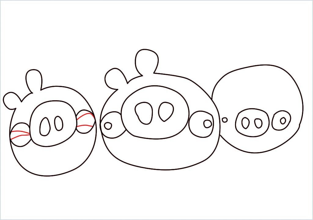 How to Draw a pig of angry bird step (6)