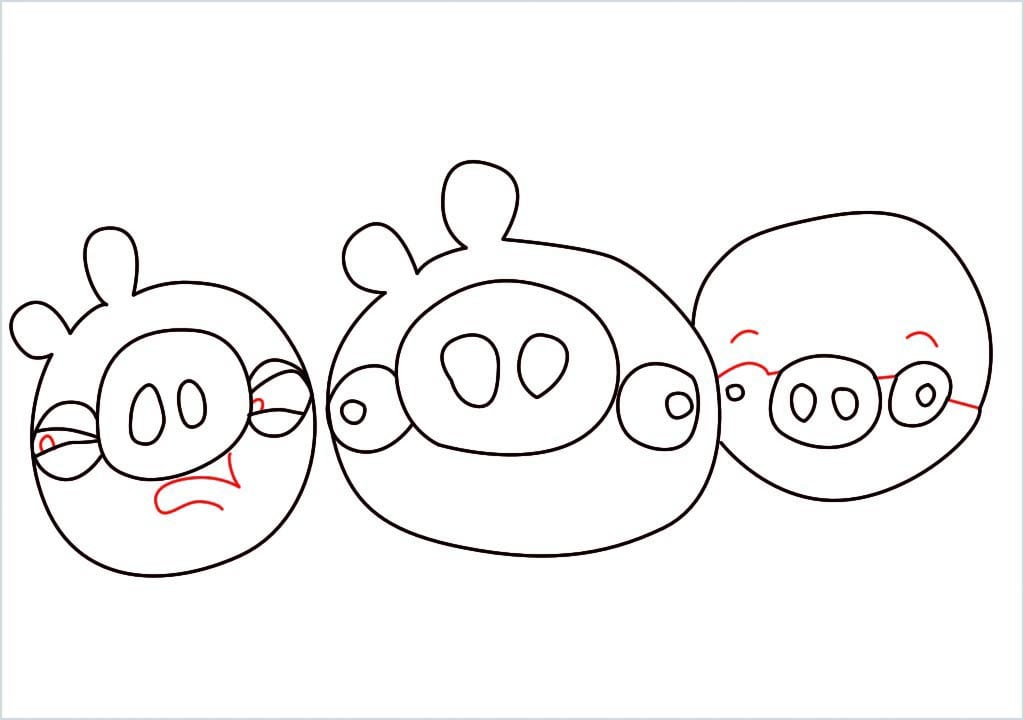How to Draw a pig of angry bird step (7)