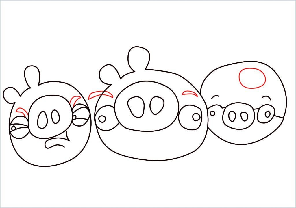 How to Draw a pig of angry bird step (8)