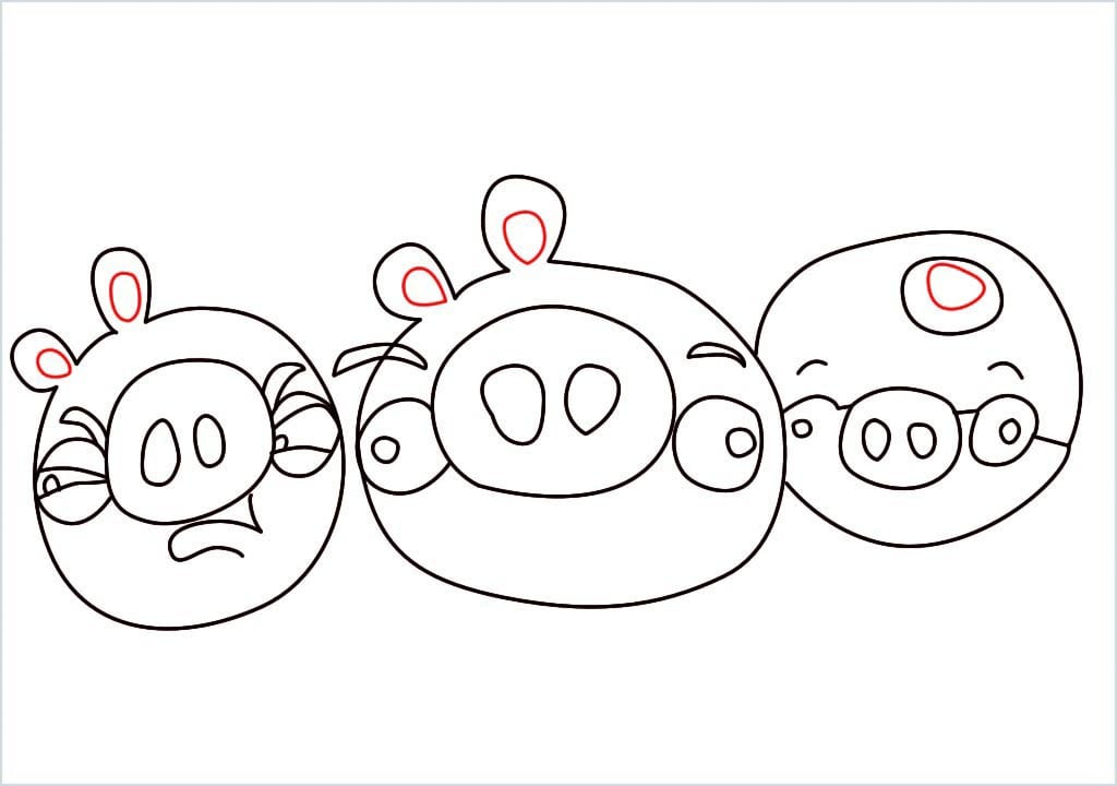 How to Draw a pig of angry bird step (9)