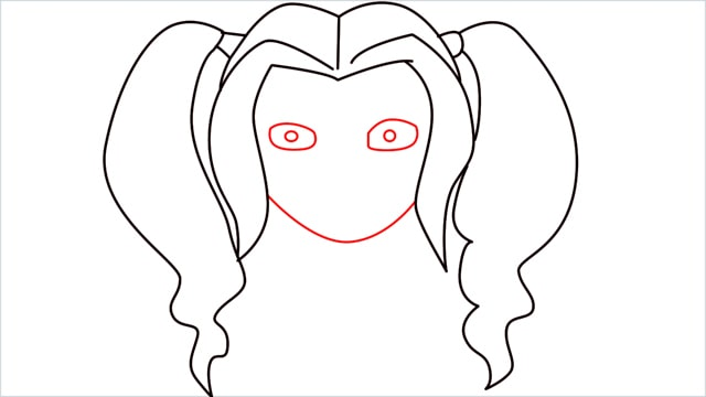 How to draw harley quinn step (6)