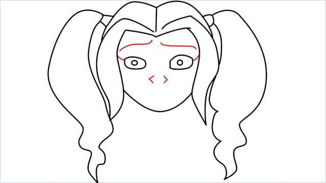 How to draw harley quinn step (7)