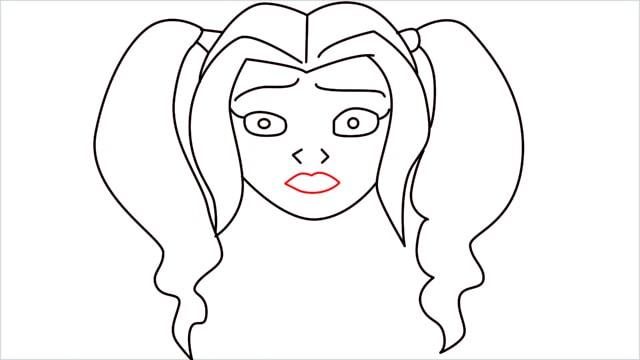 How to draw harley quinn step (8)