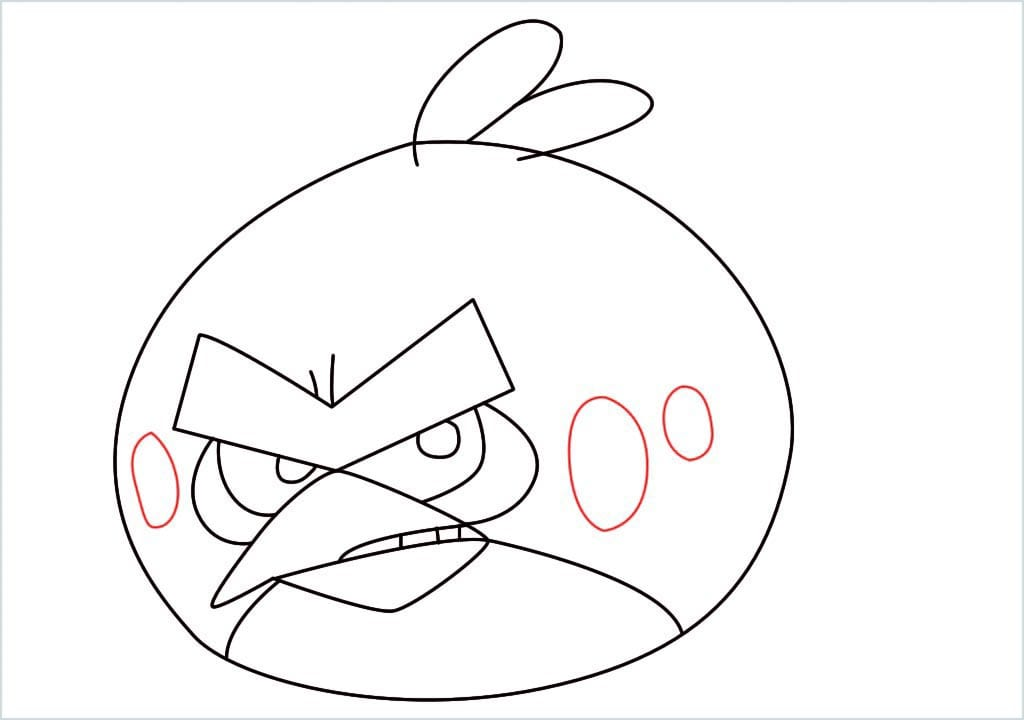 How to draw red angry birds step (10)