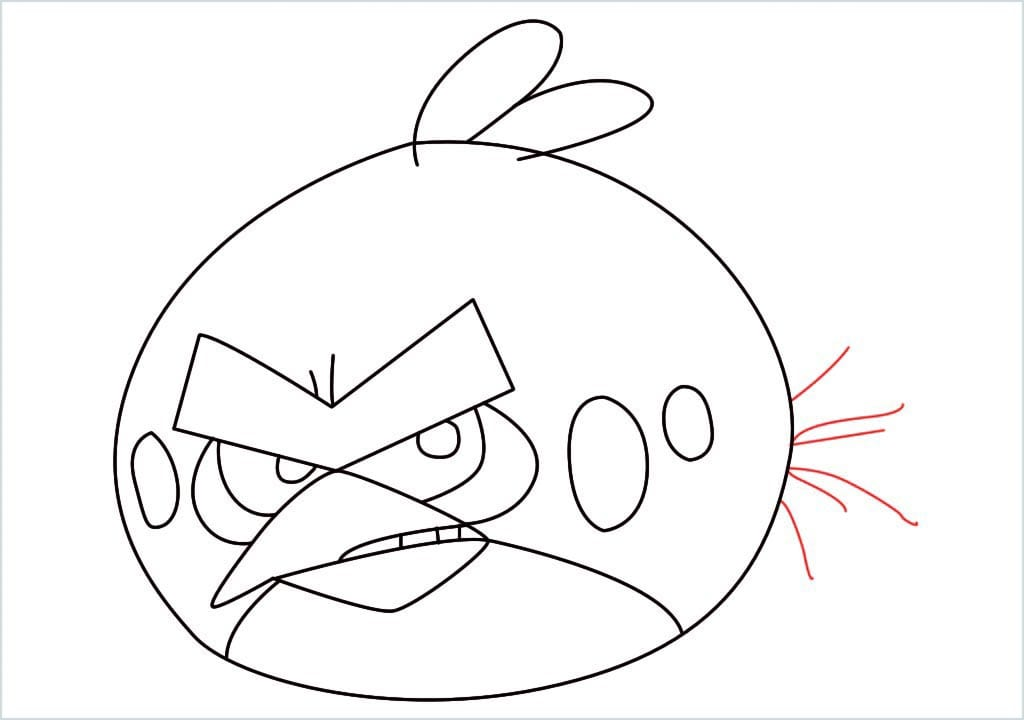 How to draw red angry birds step (11)