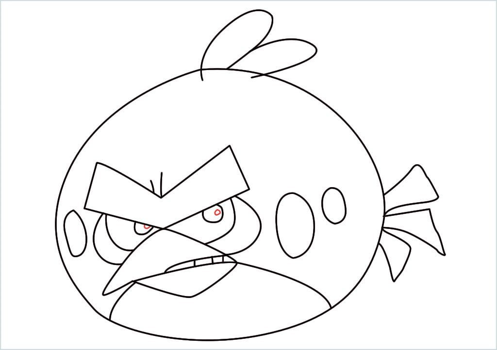 How to draw red angry birds step (13)