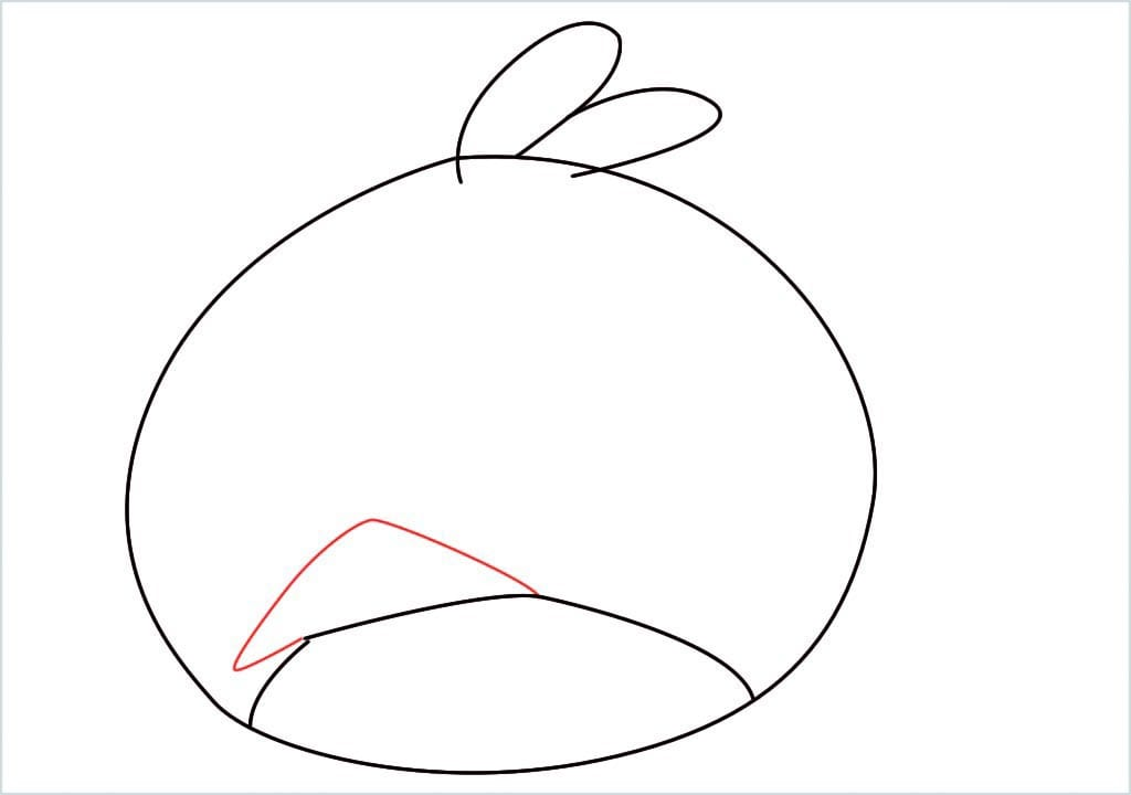 How to draw red angry birds step (4)