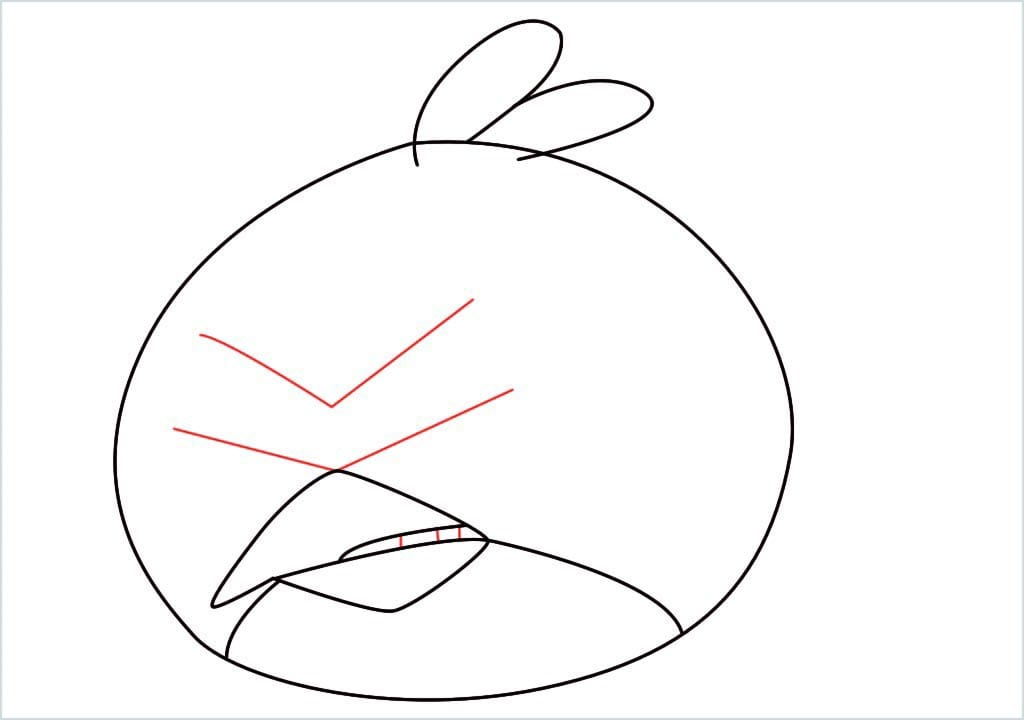 How to draw red angry birds step (6)