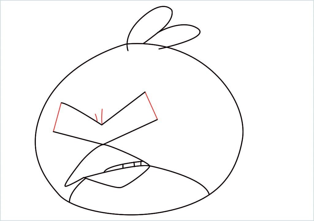 How to draw red angry birds step (7)