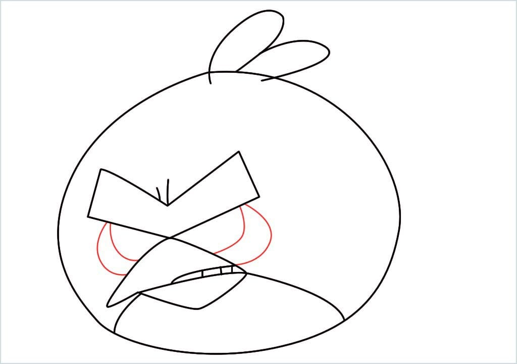 How to draw red angry birds step (8)