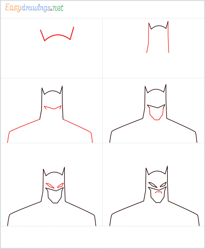 Overview for Batman drawing all steps in one place