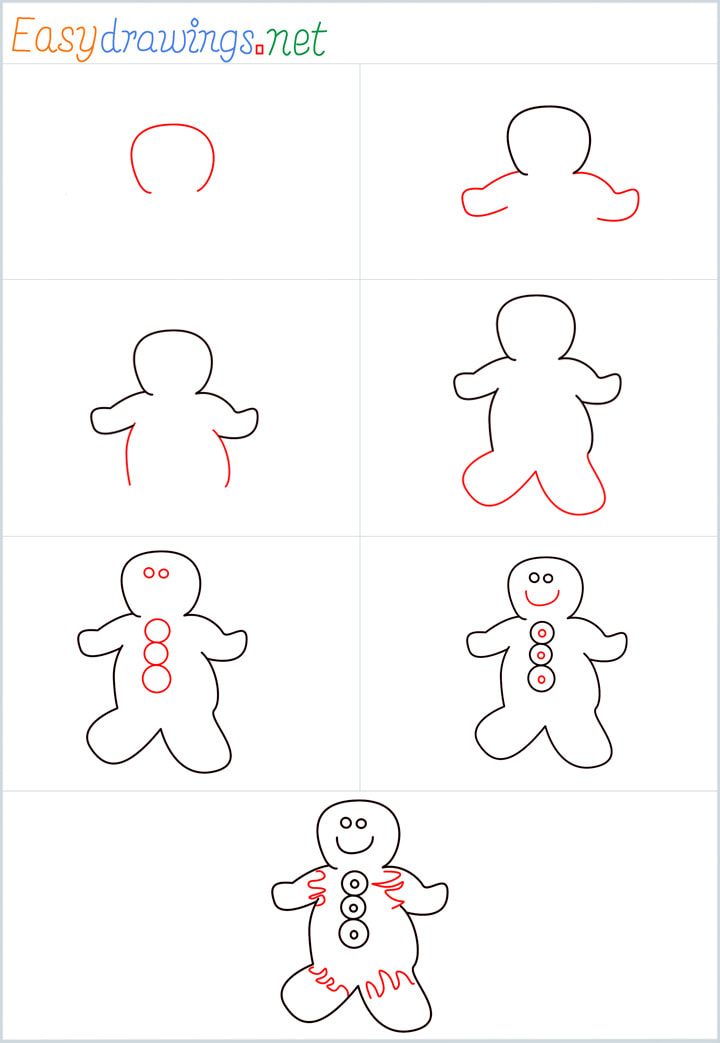 Overview for Gingerbread Man drawing all steps