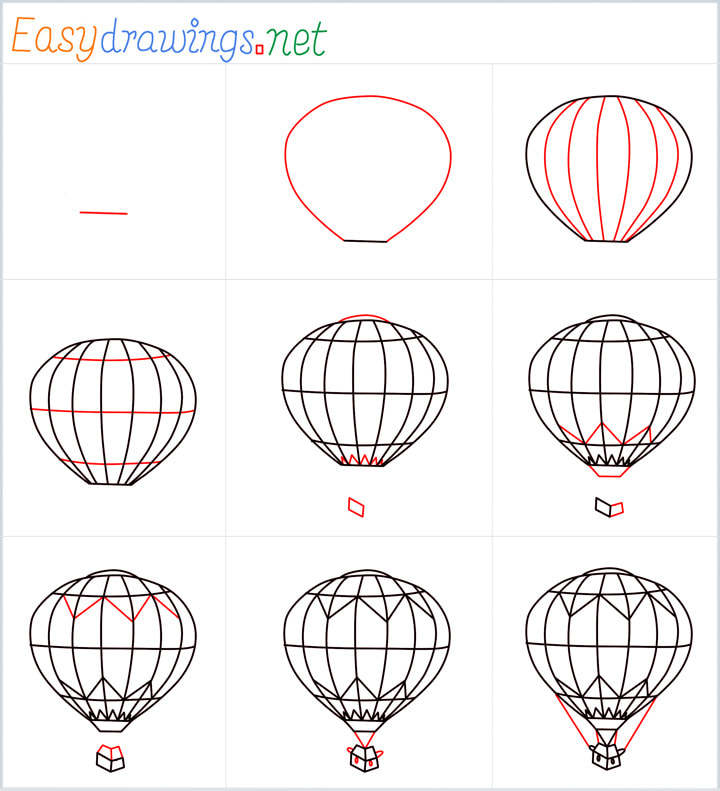 Overview for hot air balloon drawing