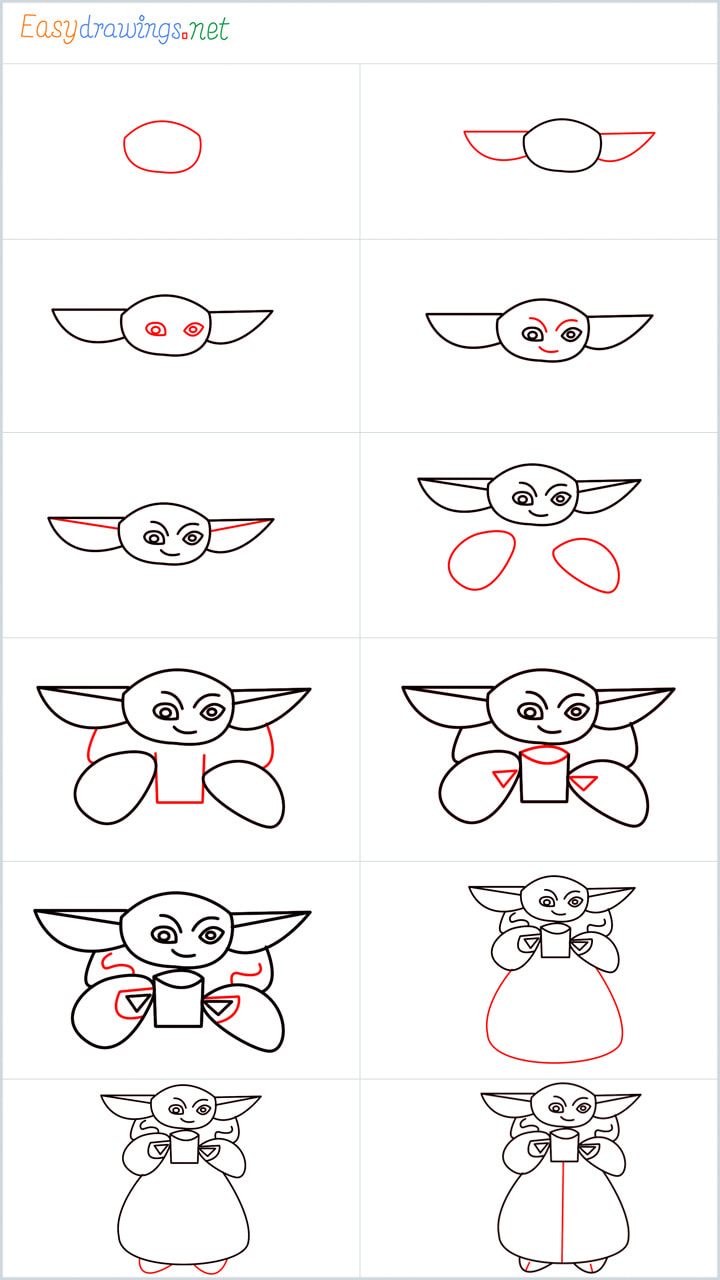 Overview included for Baby yoda drawing