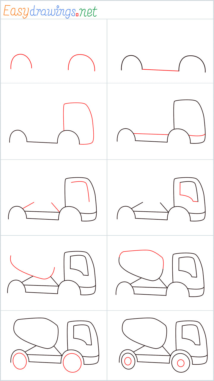 all outline for Cement truck drawing example
