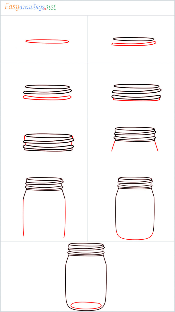 all outline for Mason jar drawing example