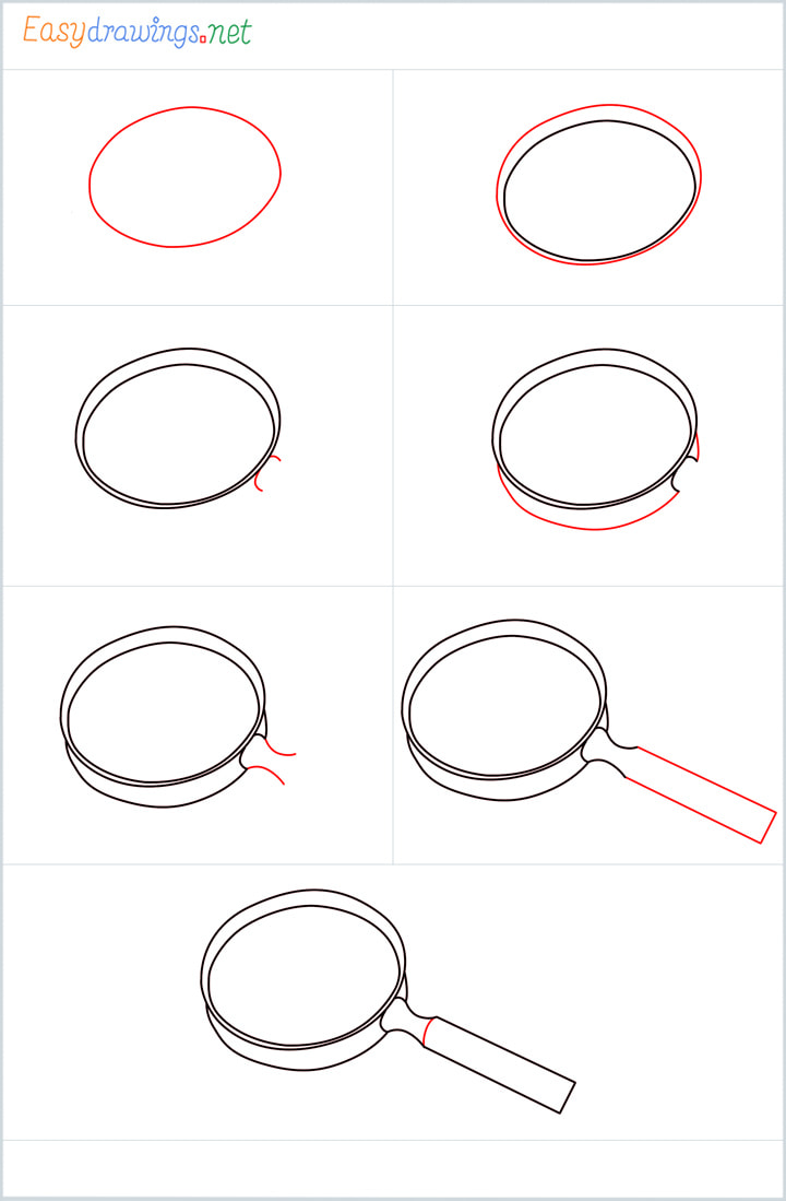 all outline for magnifying glass drawing example