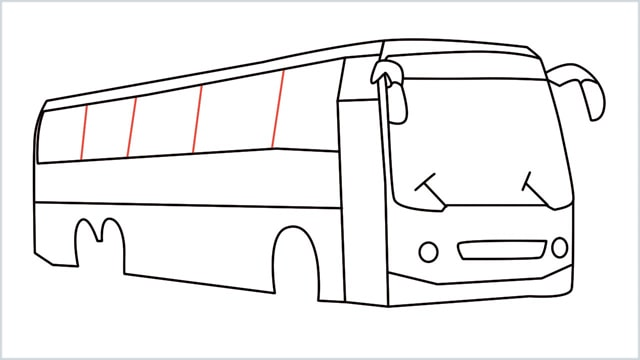 how to draw a bus Step (14)