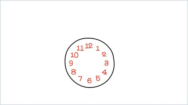 how to draw a clock step (2)