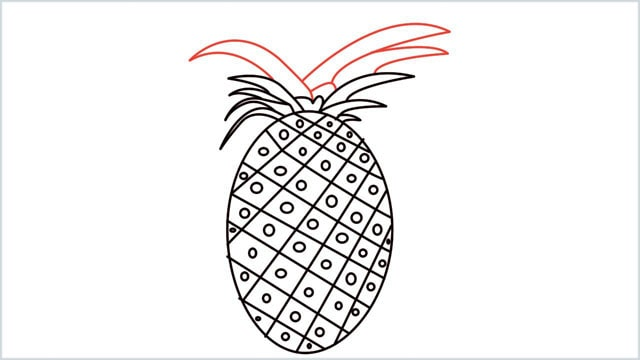 how to draw a pineapple step (7)