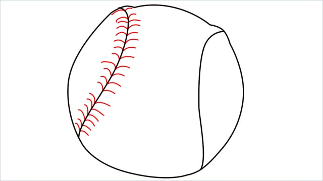 how to draw baseball step (4)