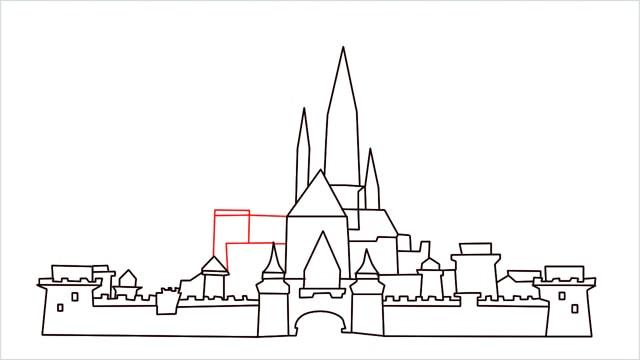 how to draw disney castle step (13)