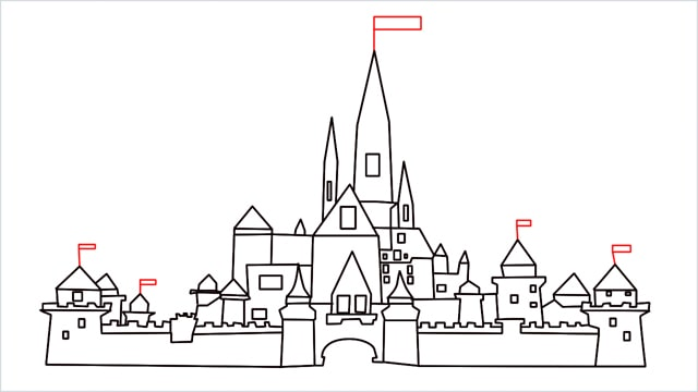 how to draw disney castle step (16)
