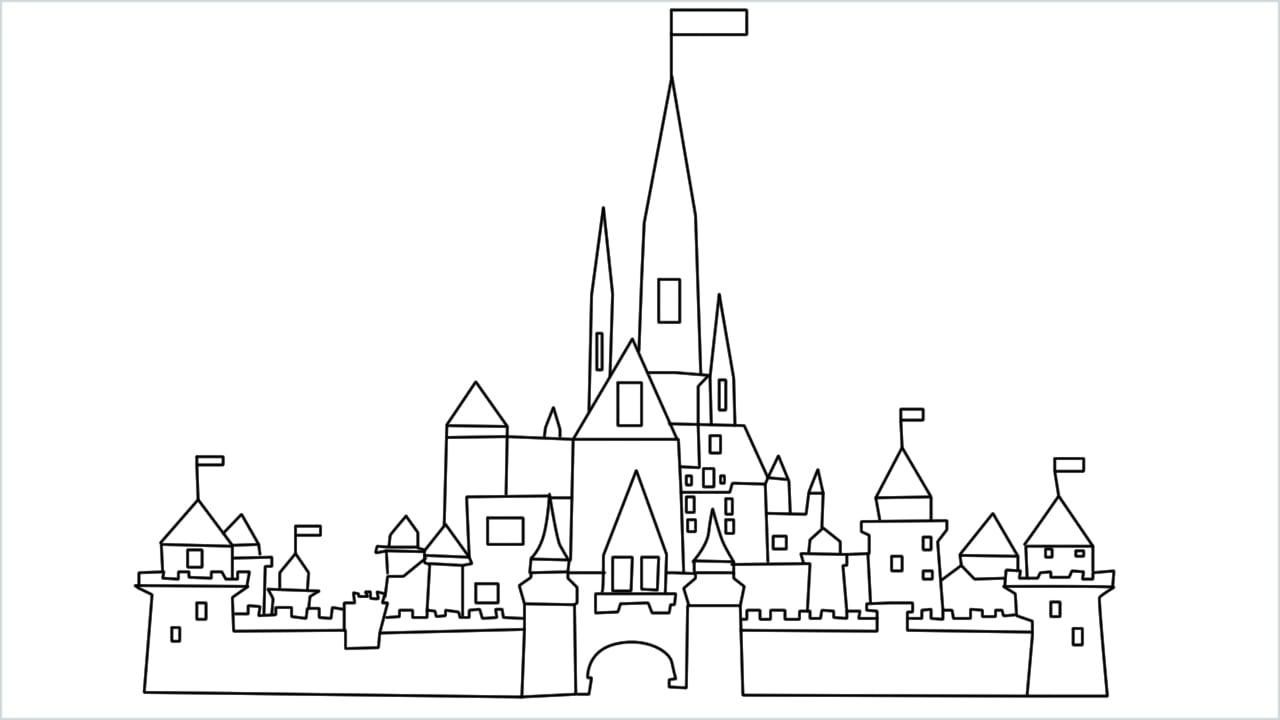 how to draw disney castle
