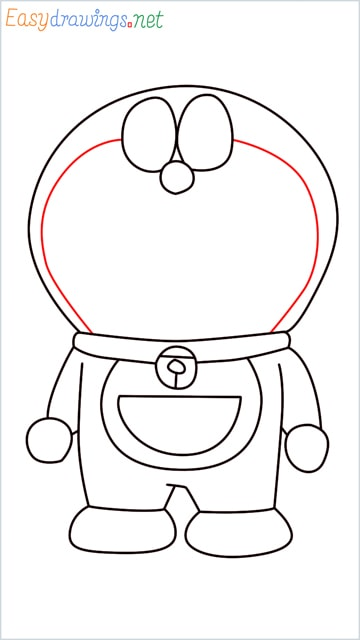 how to draw doraemon face example 2 step (10)