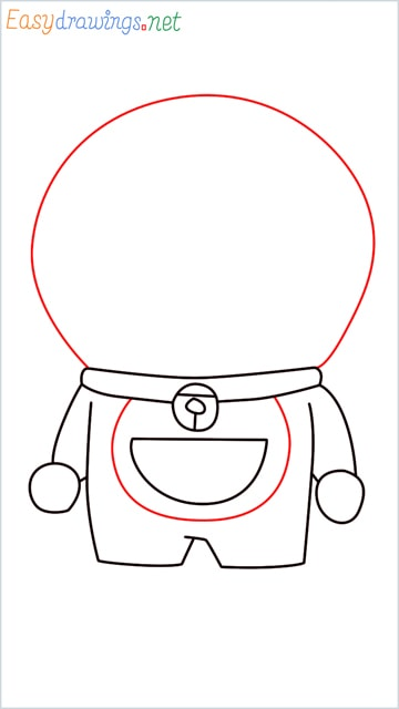 how to draw doraemon face example 2 step (7)