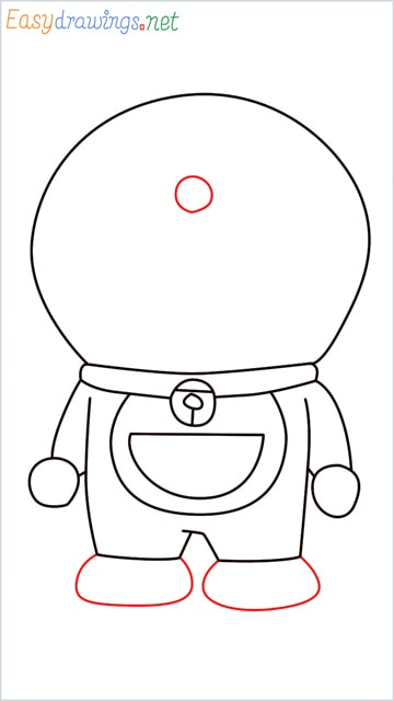 how to draw doraemon face example 2 step (8)