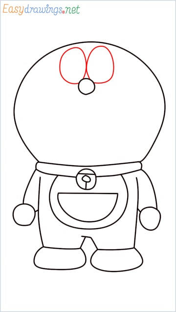 how to draw doraemon face example 2 step (9)