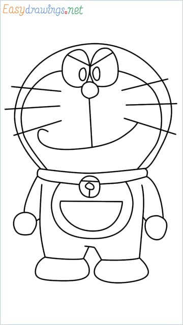 how to draw doraemon face step by step for beginners