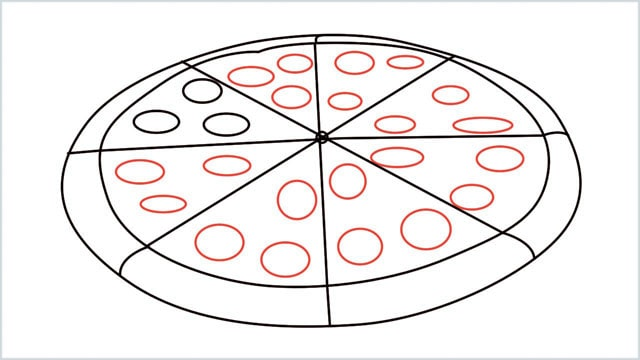 how to draw pizza step (7)