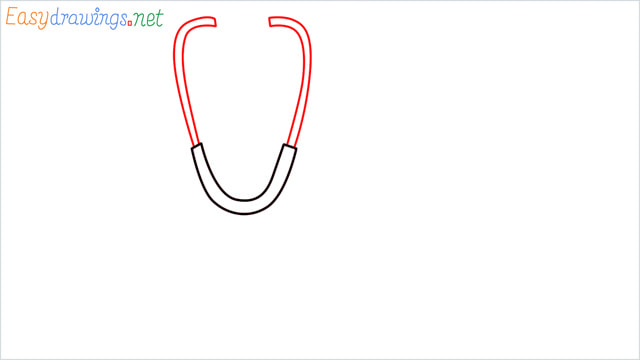 stethoscope clip art drawing step (3)