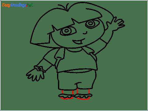 How To Draw Dora the Explorer Step (13)