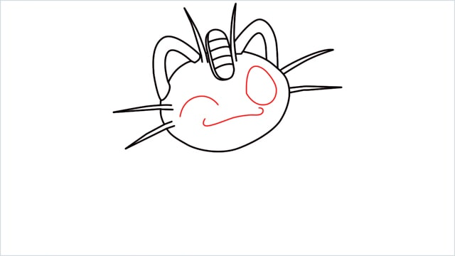 How to draw Meowth step (8)