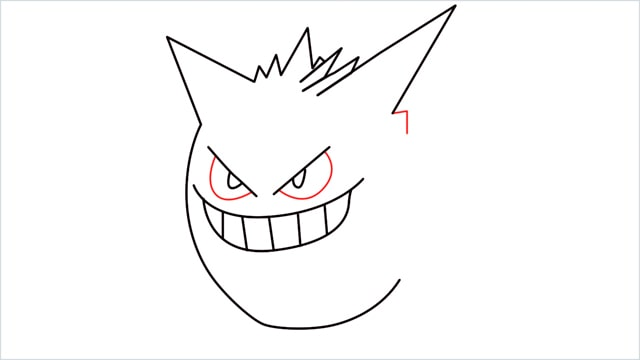 How to draw a Gengar step (6)
