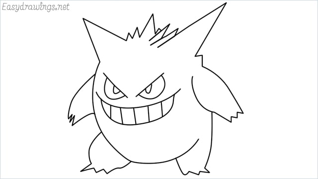 How to draw a Gengar step by step