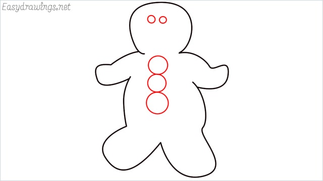 How to draw a Gingerbread Man step (5)