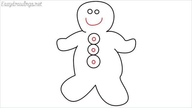 How to draw a Gingerbread Man step (6)