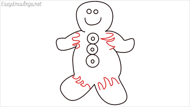 How to draw a Gingerbread Man step (7)