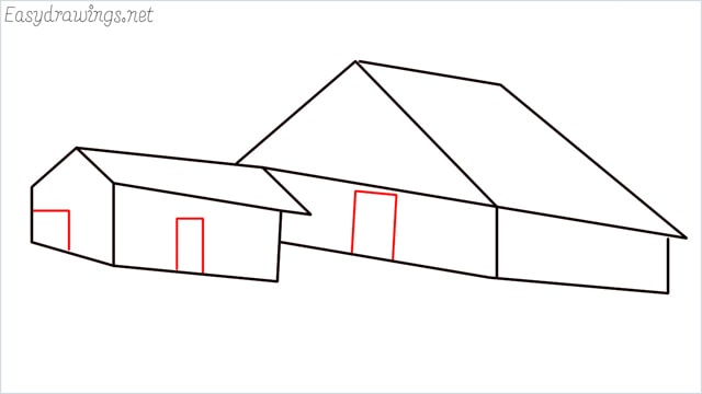 How to draw a Guest house step (10)