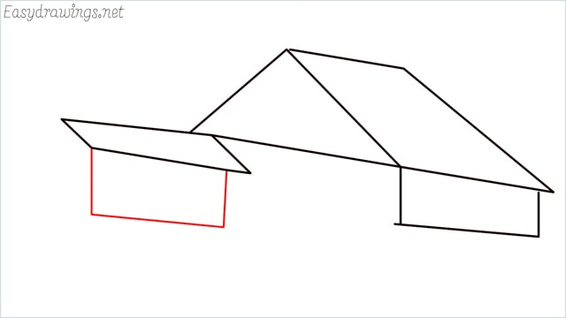 How to draw a Guest house step (6)