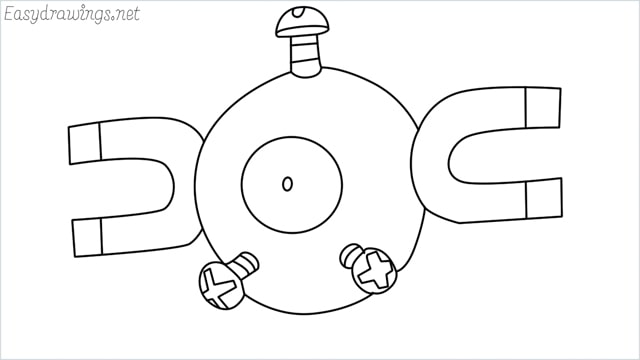 How to draw a Magnemite step by step