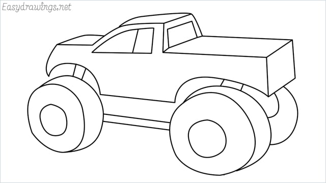 How to draw a Monster truck step by step