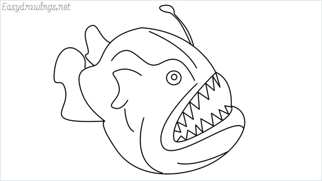 How to draw a angler fish step by step